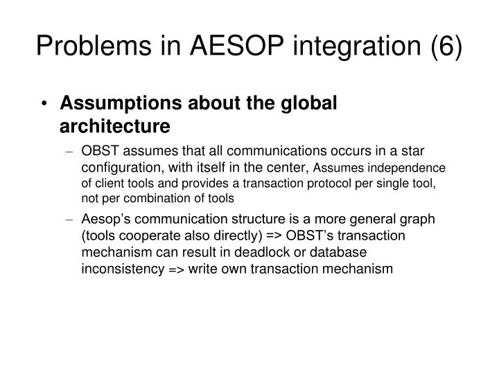 Problems in AESOP integration (6)