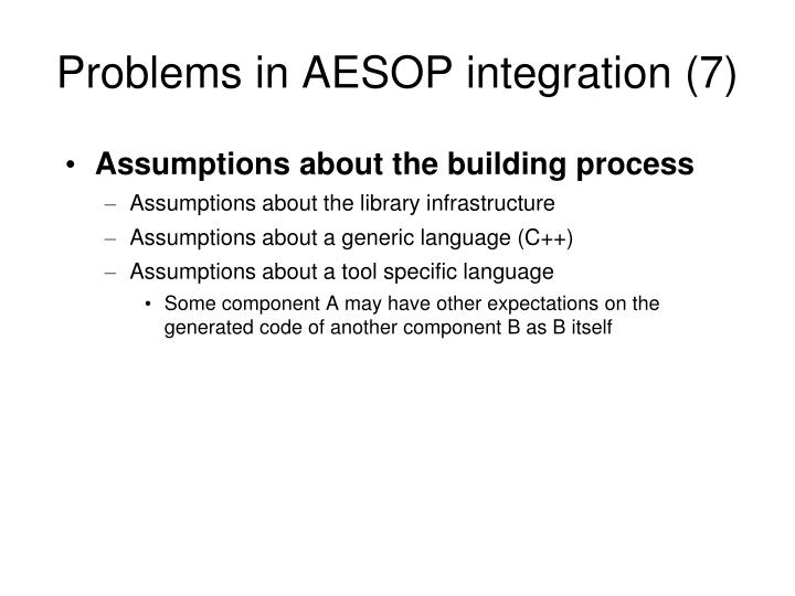 Problems in AESOP integration (7)