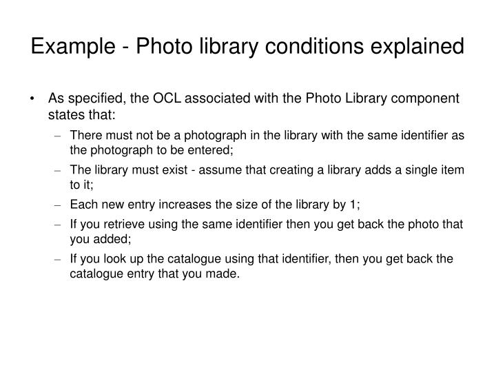 Example - Photo library conditions explained