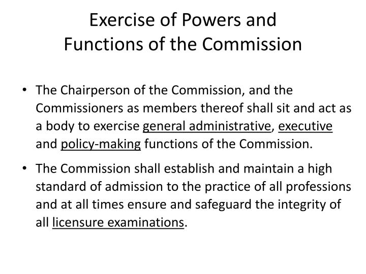 Exercise of Powers and