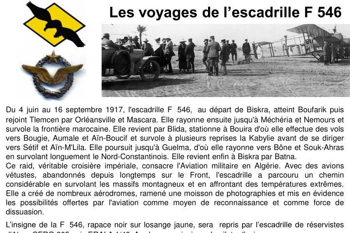 Les voyages de l'escadrille F 546