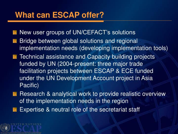 What can ESCAP offer?