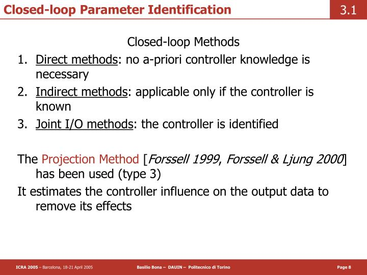 Closed-loop Parameter Identification