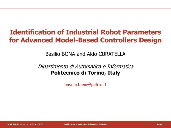 Identification of Industrial Robot Parameters