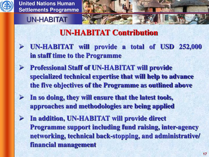 UN-HABITAT Contribution