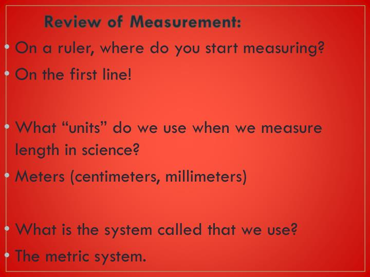 Review of measurement