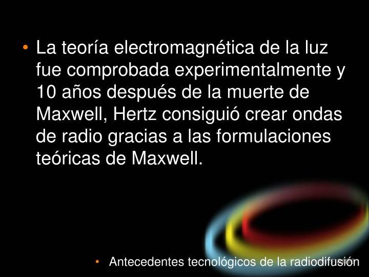 La teoría electromagnética de la luz fue comprobada experimentalmente y 10 años después de la muerte