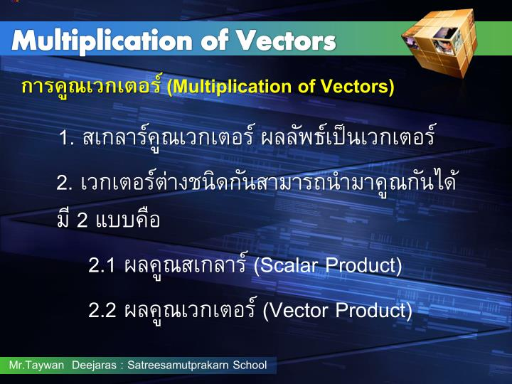 Multiplication of Vectors
