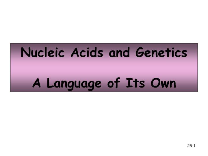 Nucleic acids and genetics a language of its own