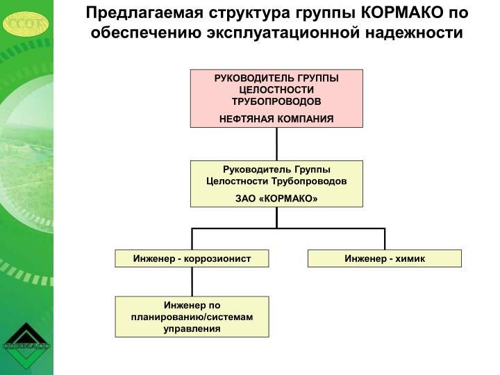 Предлагаемая структура группы КОРМАКО по обеспечению эксплуатационной надежности