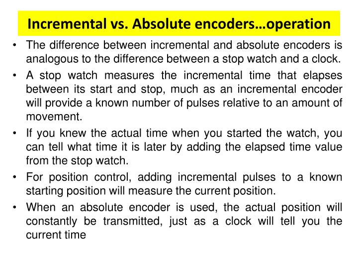 Incremental vs. Absolute encoders…operation