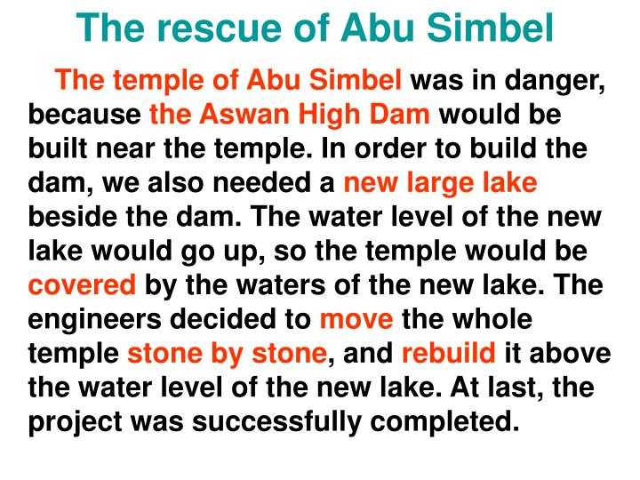 The rescue of Abu Simbel