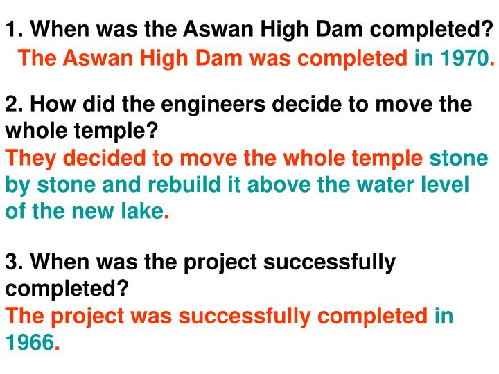 1. When was the Aswan High Dam completed?