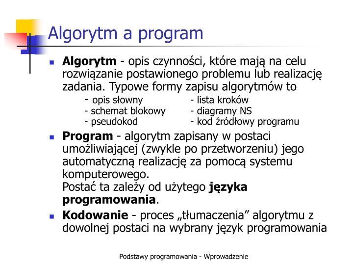 Algorytm a program