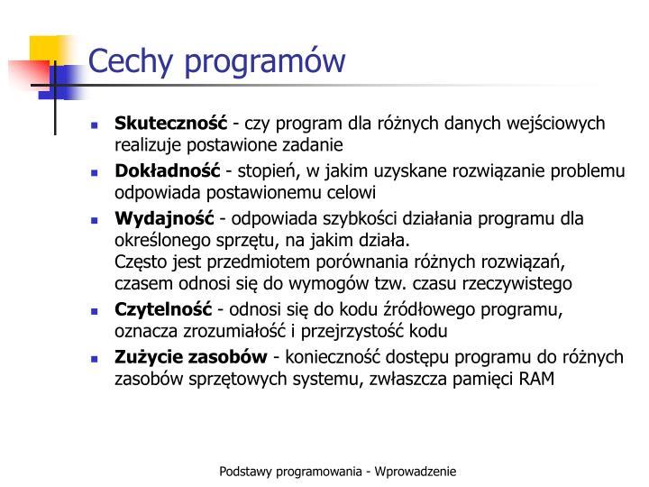 Cechy programów
