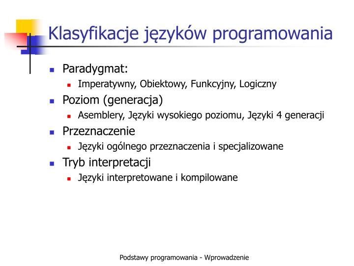 Klasyfikacje języków programowania