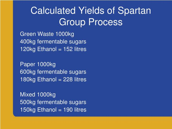 Calculated Yields of Spartan Group Process