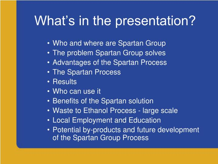 What's in the presentation?