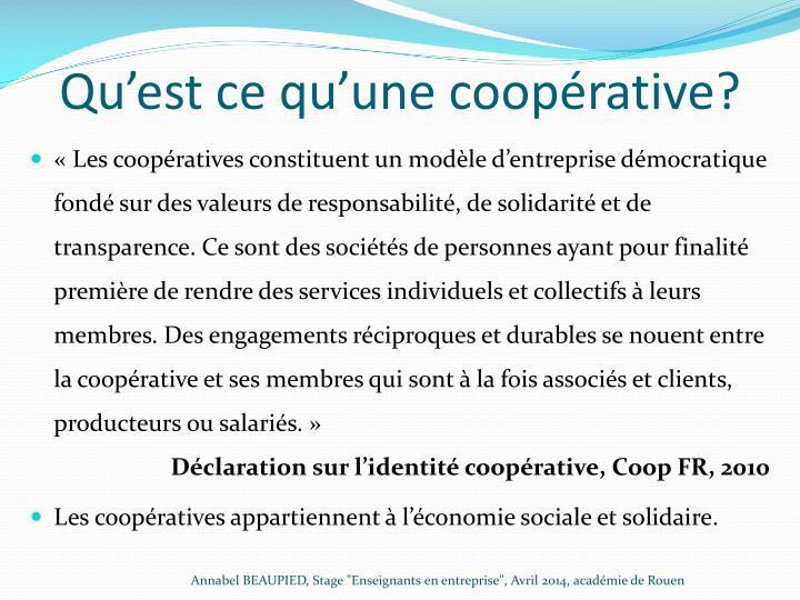 Qu'est ce qu'une coopérative?