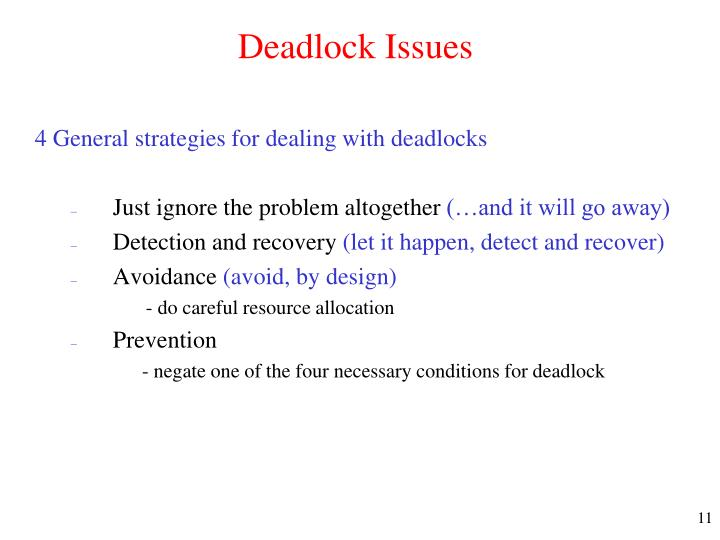 Deadlock Issues