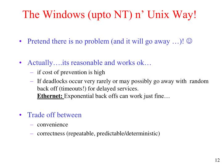 The Windows (upto NT) n' Unix Way!