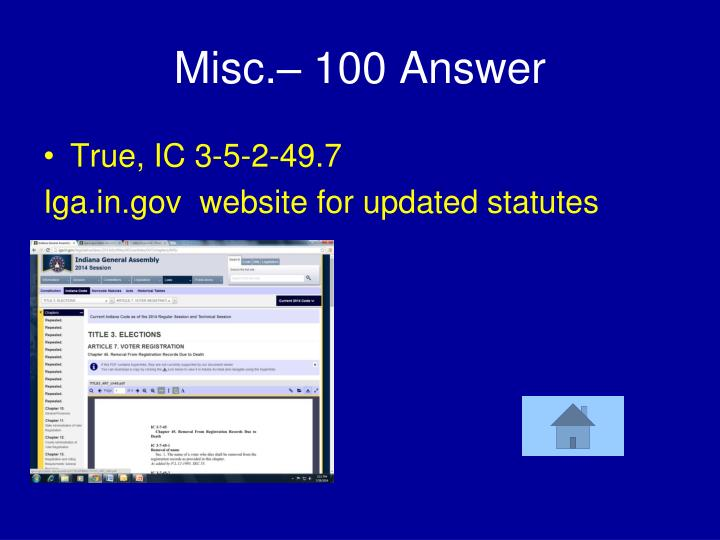 Misc.– 100 Answer