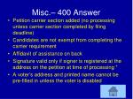 misc 400 answer