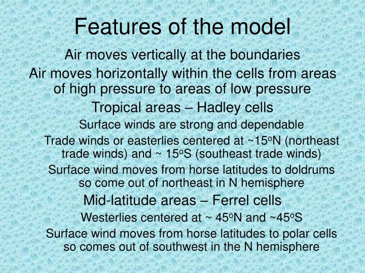 Features of the model
