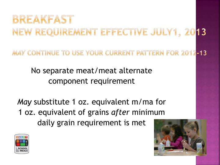 Breakfast new requirement effective july1 2013 may continue to use your current pattern for 2012 13