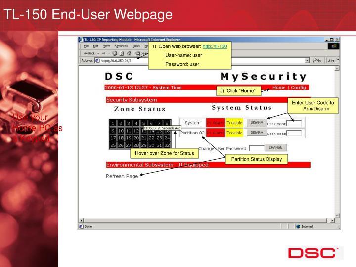 TL-150 End-User Webpage