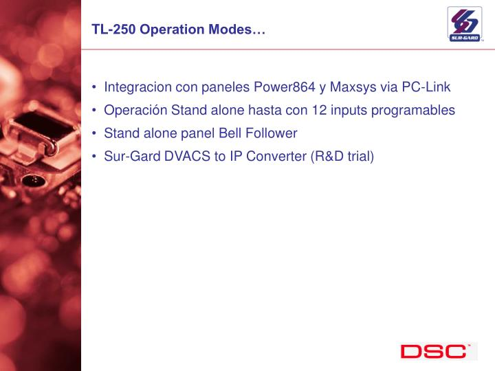 TL-250 Operation Modes…