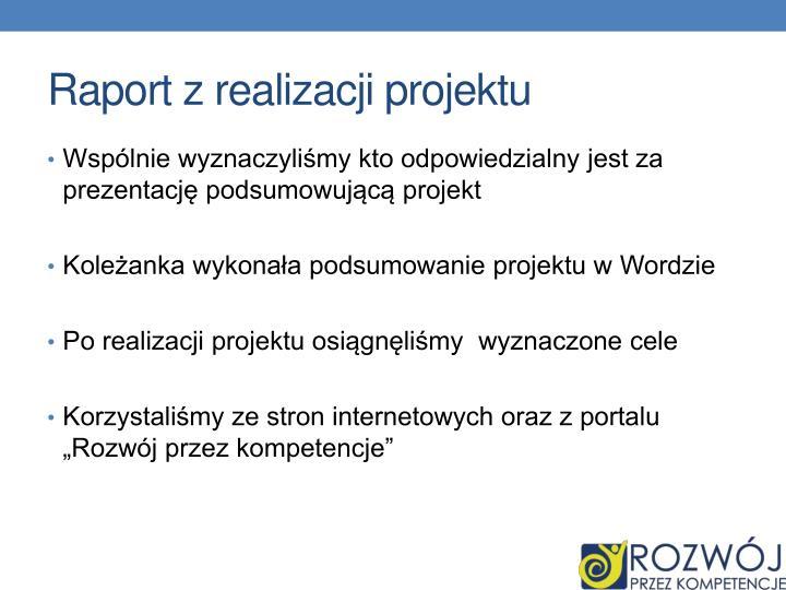 Raport z realizacji projektu