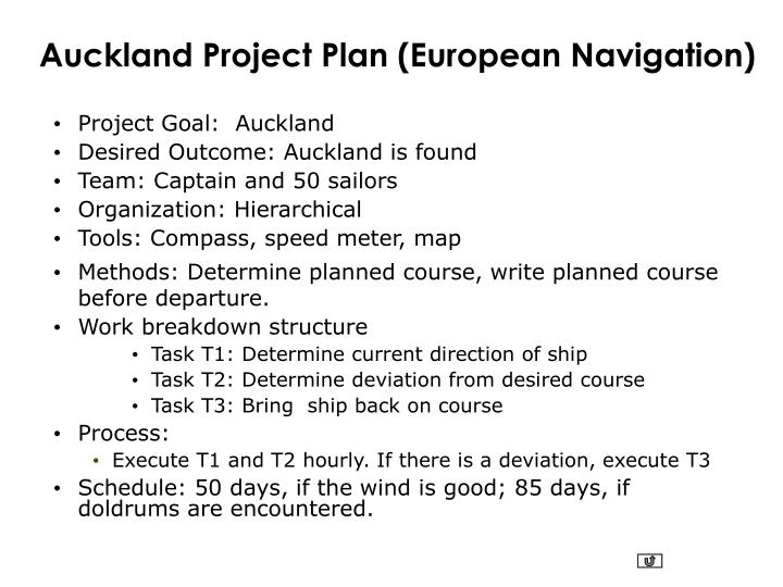 Auckland Project Plan (European Navigation)