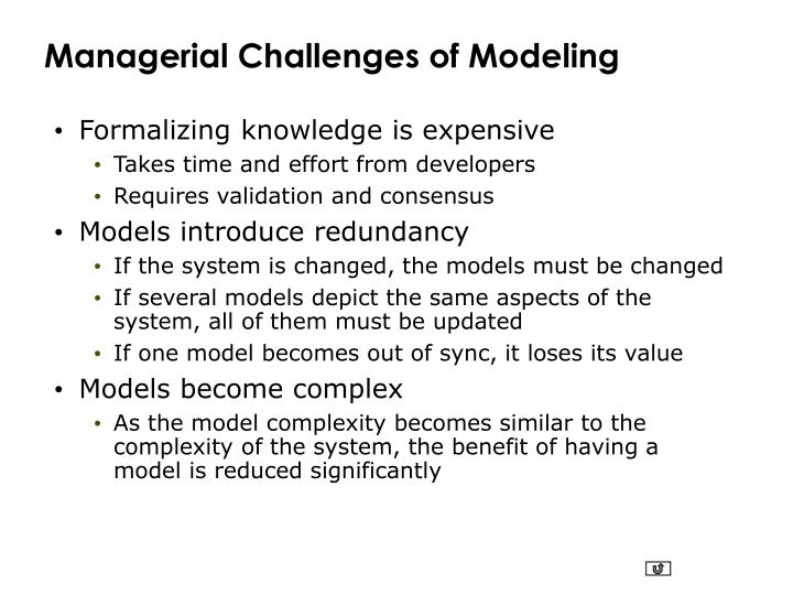 Managerial Challenges of Modeling