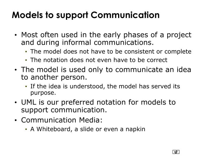 Models to support Communication