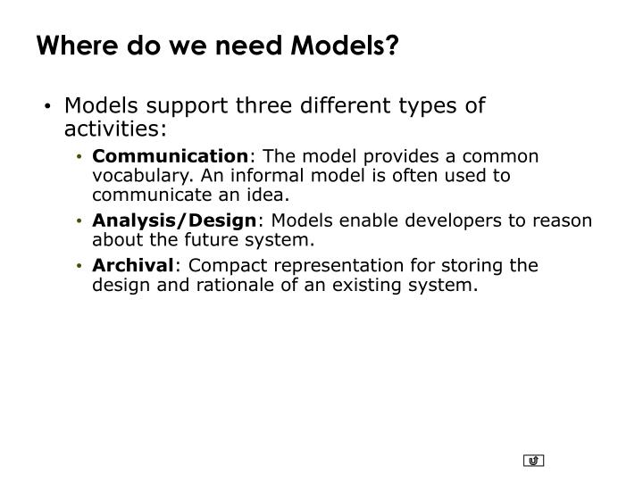 Where do we need Models?