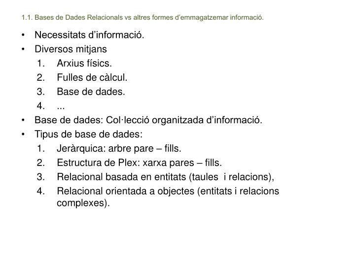 1.1. Bases de Dades Relacionals vs altres formes d'emmagatzemar informació.