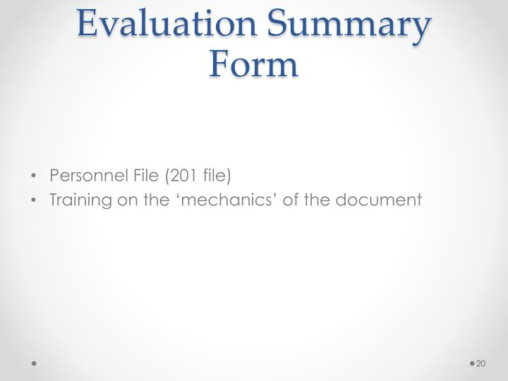 Evaluation Summary Form
