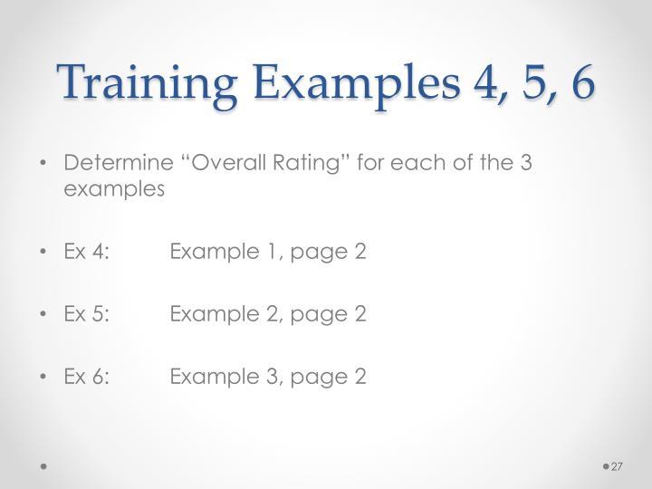 Training Examples 4, 5, 6