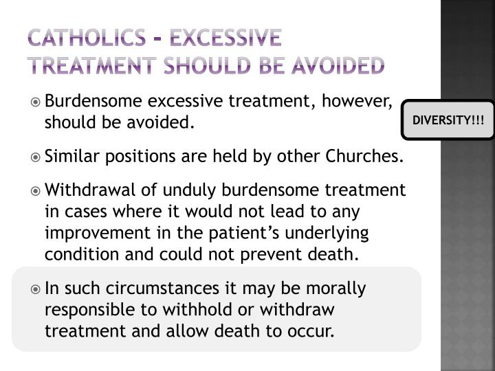 Catholics - Excessive treatment should be avoided