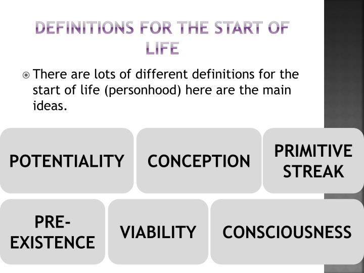 Definitions for the start of life