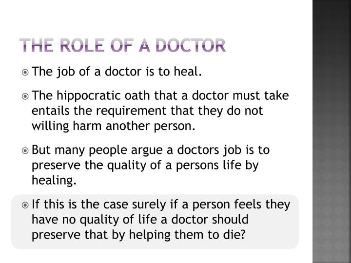 The role of a doctor