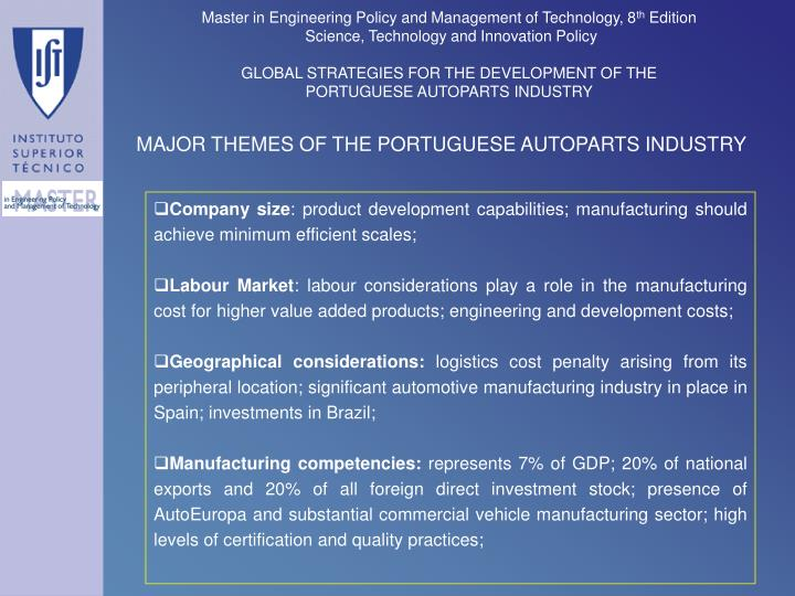 MAJOR THEMES OF THE PORTUGUESE AUTOPARTS INDUSTRY