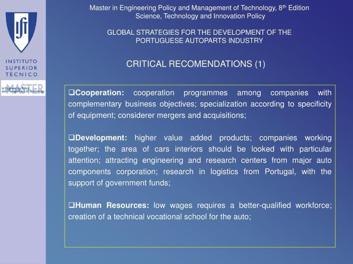 CRITICAL RECOMENDATIONS (1)