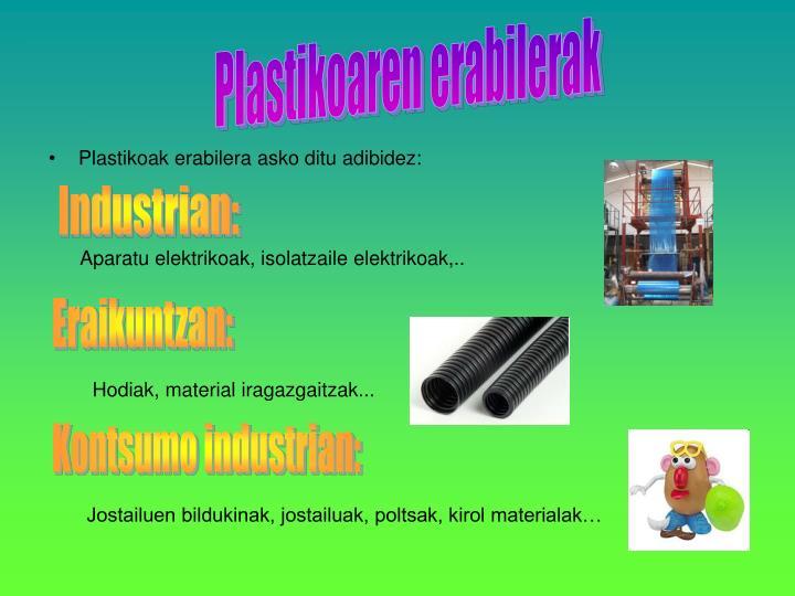Plastikoaren erabilerak