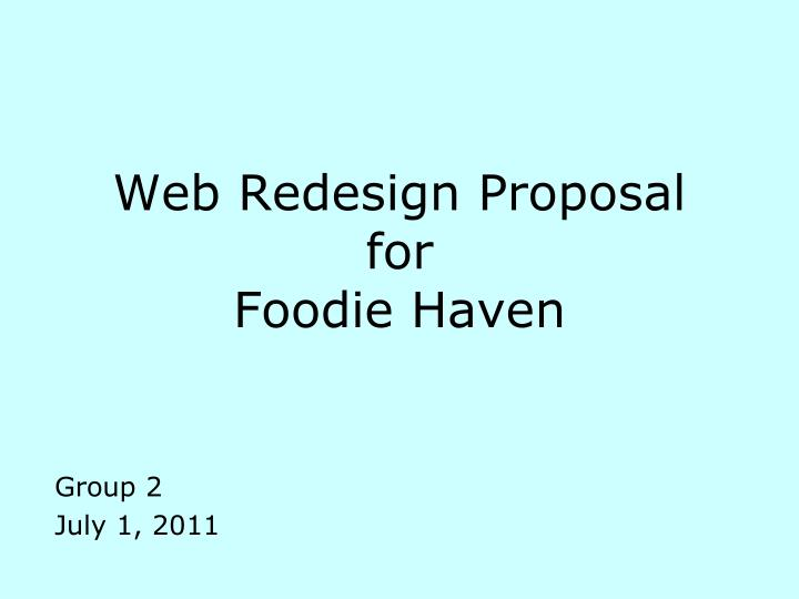 Web redesign proposal for foodie haven
