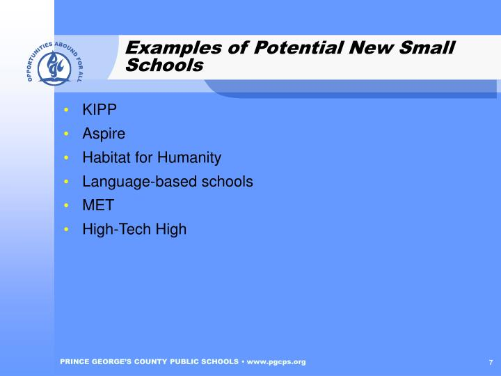 Examples of Potential New Small Schools