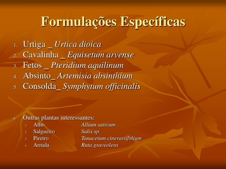 Formulações Específicas