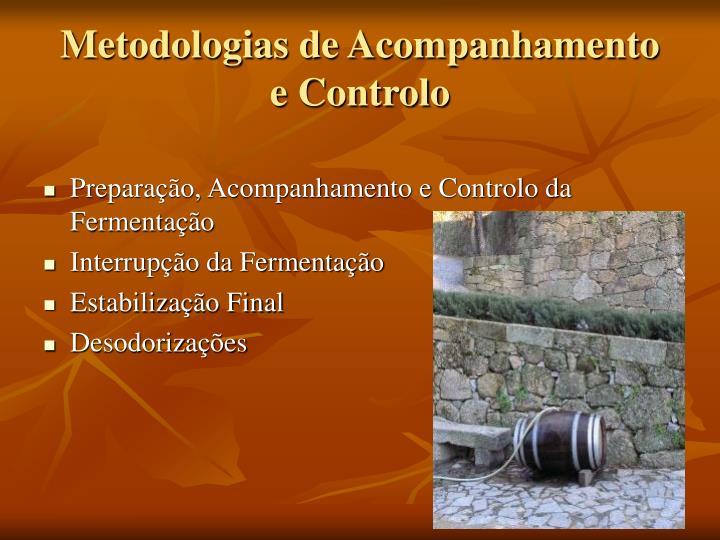 Metodologias de Acompanhamento  e Controlo