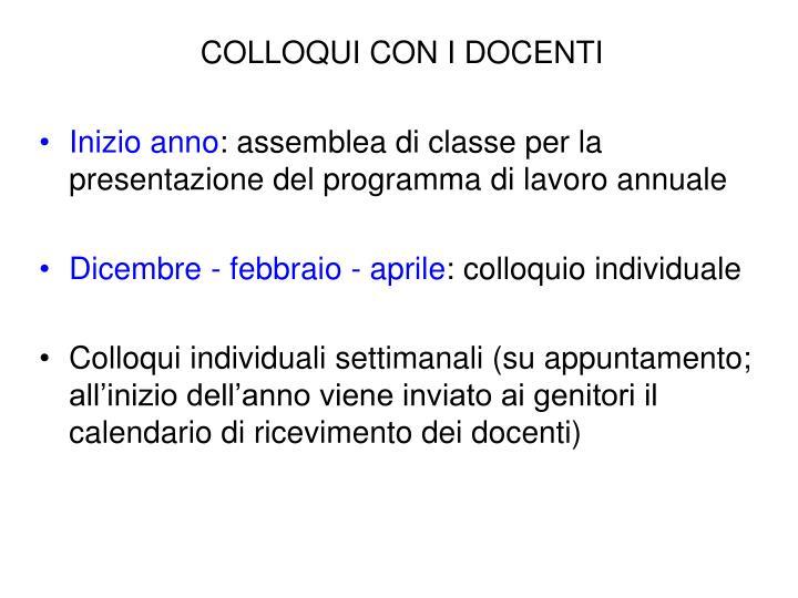 COLLOQUI CON I DOCENTI